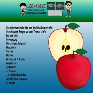 Apfel Sachkunde Lernzielkontrolle Klassenarbeit Arbeitsblatt