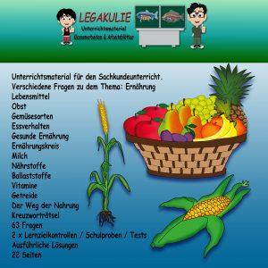 Ernährung Sachkunde Übungen Lernzielkontrolle