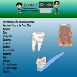 Zähne Sachkunde 2. Klasse Übungen Lernzielkontrolle
