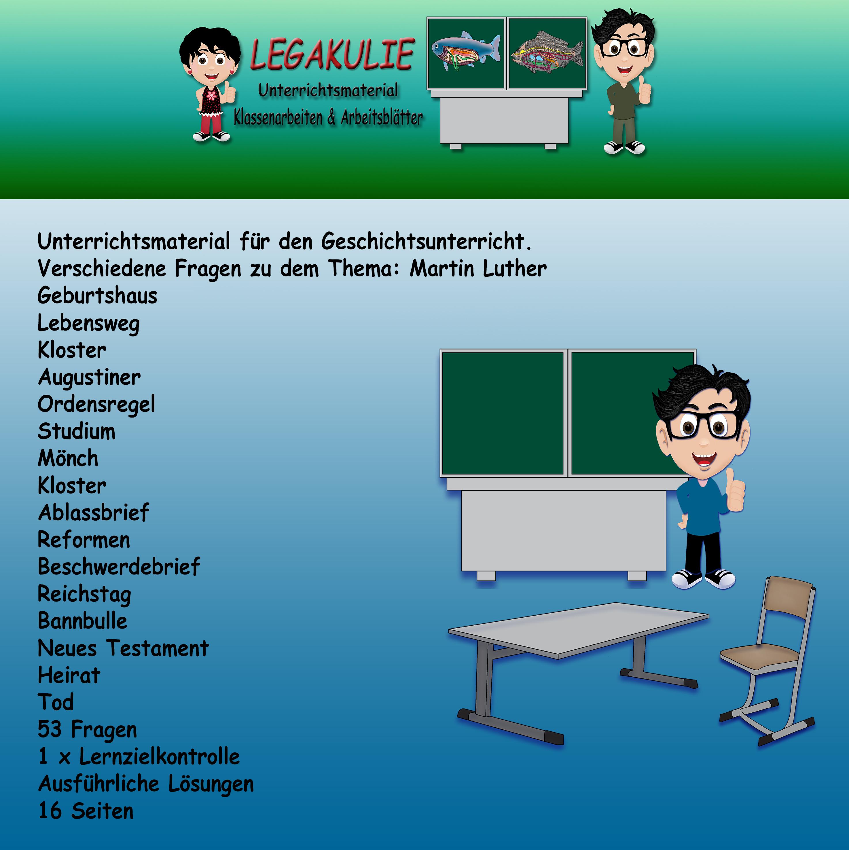 Martin Luther Geschichte Lernzielkontrolle Klassenarbeit