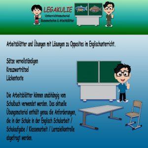 Englisch Opposites Klassenarbeit Schulprobe PDF