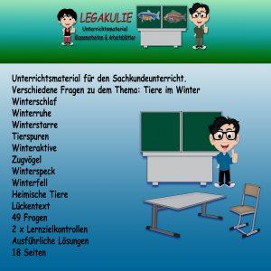 HSU Tiere im Winter Arbeitsblätter Übungen PDF