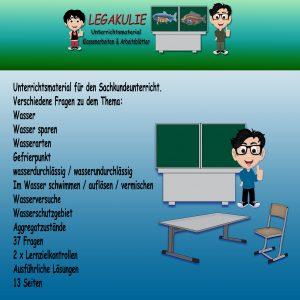 HSU Wasser Arbeitsblatt Übungen Schulprobe 2.Klasse