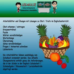 Fruit / Obst Englisch 5.Klasse Arbeitsblatt Übungen