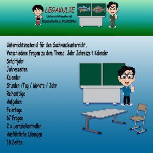 HSU Kalender 2.Klasse Arbeitsblatt Übungen PDF