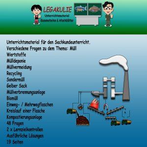 HSU Müll 4.Klasse Arbeitsblatt Übungen Schulprobe