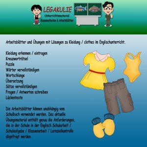 Clothes / Kleidung Englisch 5.Klasse Aufgaben PDF