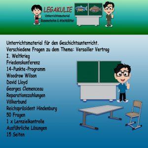 Versailler Vertrag Klassenarbeit Arbeitsblatt PDF