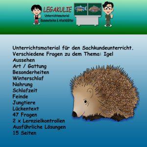 HSU Igel Arbeitsblätter Schulaufgabe Übungen PDF