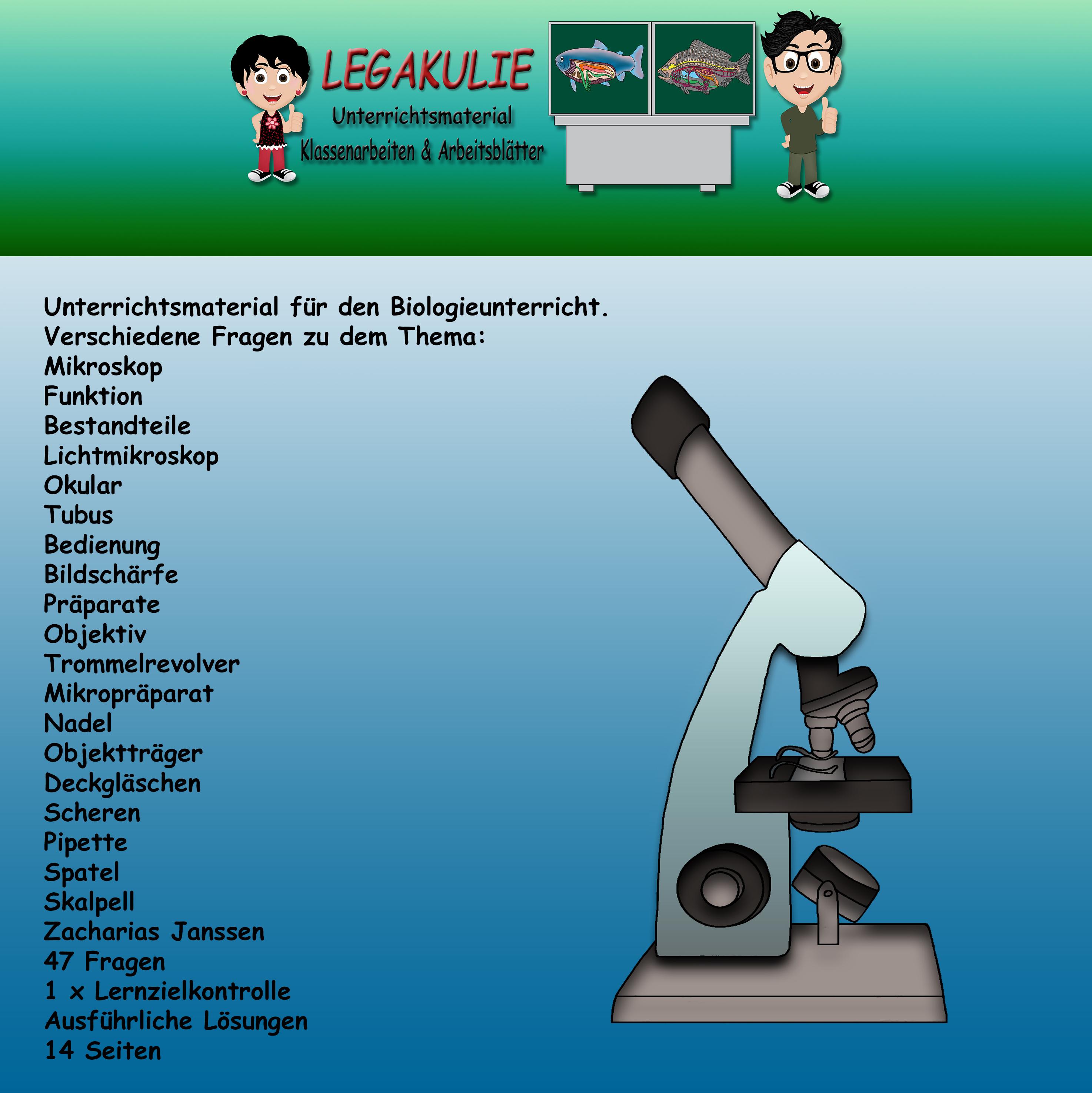 Mikroskop Biologie Arbeitsblätter Schulaufgabe PDF