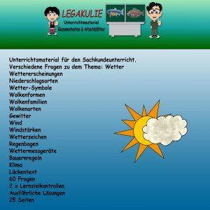 HSU Wetter 3.Klasse Arbeitsblätter Übungsaufgaben