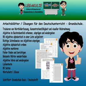 Deutsch 1.Klasse Adjektive Wiewort Arbeitsblatt PDF