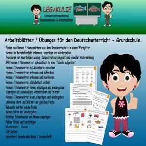 Nomen Namenwort 1.Klasse Arbeitsblatt Deutsch PDF