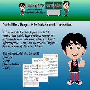 Artikel Begleiter Deutsch 1.Klasse Arbeitsblatt PDF